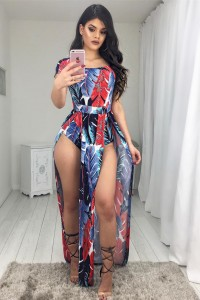 Sexy High Slit Short Sleeve Red Feather Printed Women Jumpsuit For Prom