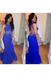 Sexy Mermaid Backless Royal Blue Chiffon Beaded Prom Dress