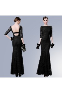 Sexy Mermaid Boat Neck Backless Black Lace Formal Evening Dress With Sleeves