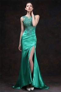 Sexy Mermaid High Slit Jade Green Silk Satin Tulle Lace Beaded Prom Dress