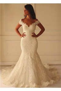 Sexy Mermaid Off The Shoulder Vintage Lace Wedding Dress Cut Outs Back