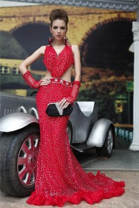 Sexy Mermaid Side Cut Out Backless Red Tulle Sequin Evening Prom Dress With Straps