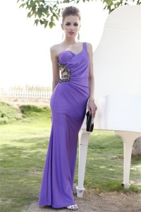 Sexy One Shoulder Backless Long Lavender Jersey Beaded Special Occsaion Evening Dress
