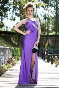Sexy One Shoulder Cut Out Long Purple Jersey Beaded Prom Dress With Slit