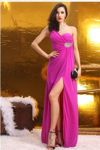 Sexy One Shoulder High Slit Long Hot Pink Chiffon Beaded Special Occasion Prom Dress
