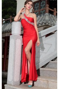 Sexy One Shoulder Side Slit Long Red Jersey Beaded Special Occasion Prom Dress