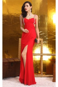 Sexy Sheath Open Back High Slit Long Red Chiffon Prom Dress With Straps