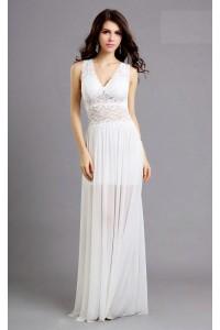 Sexy Sheath V Neck See Through Long White Chiffon Lace Prom Dress