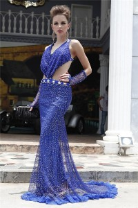 Sexy Side Cutouts Backless Royal Blue Tulle Sequined Evening Dress With Train