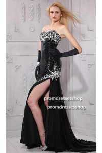 Sexy Strapless High Slit Black Sequin Beaded Evening Prom Dress