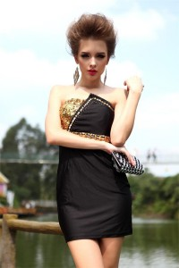 Sexy Strapless Short Mini Little Black Party Prom Dress With Gold Beading