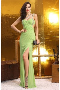 Sexy Sweetheart Backless High Slit Long Light Green Chiffon Beaded Prom Dress With Straps