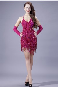 Sexy Sweetheart Backless Mini Fuchsia Sequin Fringe Cocktail Prom Dress With Straps
