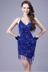 Sexy Sweetheart Backless Mini Royal Blue Sequin Sparkly Cocktail Prom Dress
