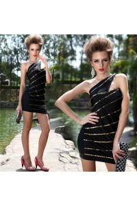 Sexy Tight One Shoulder Mini Black Jersey Gold Beaded Club Prom Dress