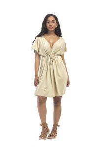 Sexy V Neck Empire Waist Short Khaki Jersey Dress With Sleeves