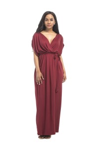 Sexy V Neck Long Burgundy Jersey Ruched Sleeve Summer Fall Dress With Sash