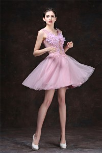 Sexy V Neck Short Dusty Pink Tulle Flower Cocktail Prom Dress Lace Up Back