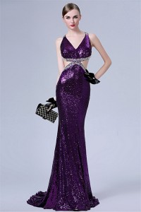 Sexy V Neck Side Cutouts Backless Purple Sequin Beaded Special Occsaion Evening Dress