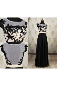Sheath Bateau Neckline Sheer Back Long Black Chiffon Embroidery Evening Prom Dress
