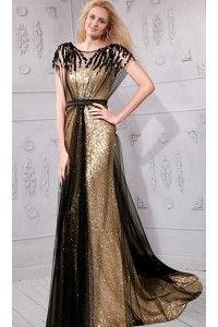 Sheath Boat Neck Gold Sequin Black Tulle Evening Prom Dress With Sleeves Sash