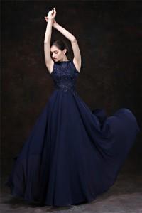Sheath Boat Neck Keyhole Back Long Navy Blue Chiffon Lace Beaded Evening Dress