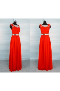 Sheath Boat Neck Sheer Back Long Red Chiffon Lace Evening Prom Dress With Belt