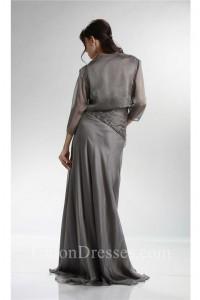 Sheath Charcoal Gray Chiffon Ruched Mother Evening Dress Bolero Jacket