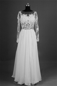Sheath Illusion Neckline Backless Long Sleeve Chiffon Lace Beach Wedding Dress