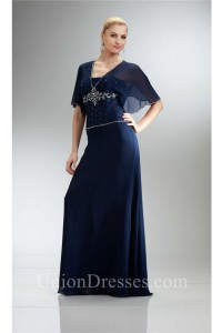 Sheath Navy Blue Chiffon Beaded Mother Of The Bride Evening Dress With Sleeves