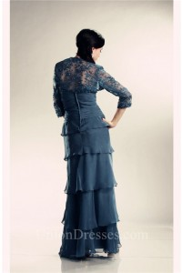 Sheath Navy Blue Chiffon Ruffle Tiered Mother Evening Dress Lace Jacket