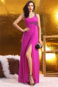 Sheath One Shoulder Empire Waist High Slit Long Hot Pink Chiffon Prom Dress