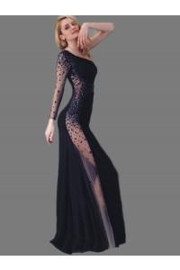 Sheath One Shoulder Sleeve Black Jersey Tulle Panel Beaded Prom Dress