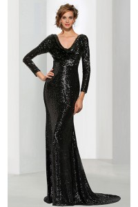 Sheath Scoop Cowl Neck Full Back Long Sleeve Black Sequin Evening Dress