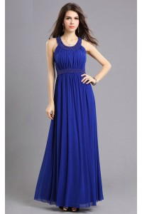 Sheath Scoop Neck Long Royal Blue Chiffon Beaded Prom Dress With Straps