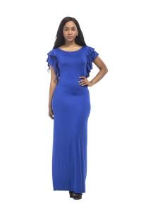 Sheath Scoop Neck Ruffle Sleeve Long Royal Blue Jersey Evening Dress