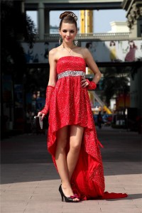 Sheath Strapless High Low Red Sequined Party Prom Dress Corset Back