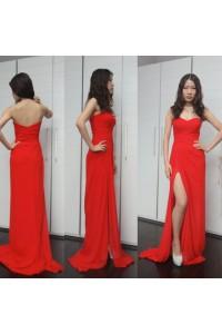 Sheath Strapless High Slit Long Red Chiffon Draped Evening Prom Dress