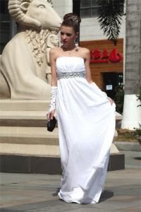 Sheath Strapless Long White Chiffon Beaded Evening Prom Dress