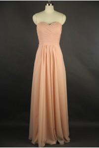 Sheath Sweetheart Long Peach Chiffon Draped Bridesmaid Evening Dress