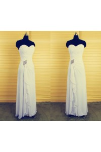 Sheath Sweetheart Long White Chiffon Beaded Mother Of The Bride Evening Dress