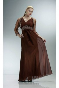Sheath V Neck Brown Chiffon Beaded Mother Evening Dress With Jacket