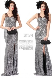 Sheath V Neck Cut Out Back High Slit Silver Sequin Evening Prom Dress