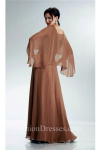 Sheath V Neck Long Brown Chiffon Mother Of The Bride Dress With Shawl