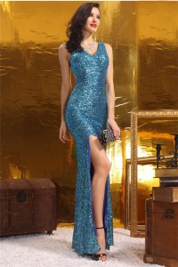 Sheath V Neck Open Back High Slit Teal Sequin Evening Prom Dress