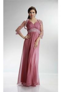 Sheath V Neck Rose Chiffon Beaded Mother Evening Dress With Bolero Jacket