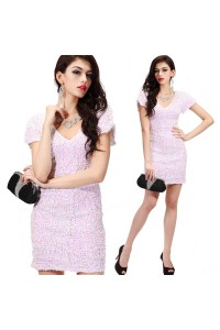 Sheath V Neck Short Light Pink Sequin Cocktail Party Club Dress With Sleeves