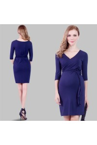 Sheath V Neck Short Purple Jersey Pregnant Party Dress With Sleeves Sash