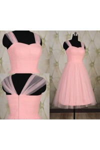 Simple A Line Sweetheart Short Light Pink Tulle Party Prom Dress With Straps