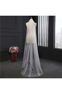 Simple One tier Tulle Floor Length Wedding Bridal Veil With Comb